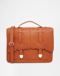 Asos Large Scallop Satchel Tan