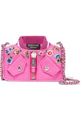 Moschino Embroidered Leather Shoulder Bag Pink