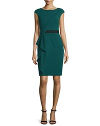Kay Unger New York Short Sleeve Asymmetric Draped Front Dress Green Women's