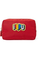 Anya Hindmarch Appliqued Shell Cosmetics Case Red
