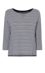 Karen Millen Breton Stripe Panel Top Blue Multi