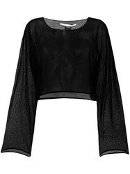Isabel Benenato Sheer Elongated Sleeve Tee Black