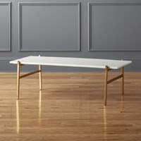 Slab Small Marble Coffee Table With Brass Base