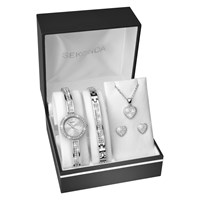 Sekonda 2528G.76 Women's Crystal Bracelet Strap Watch Bangle Necklace And Stud Earrings Gift Set Silver