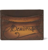 Berluti Bambou Embossed Polished Leather Cardholder Brown