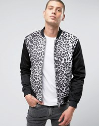 Religion Bomber Jacket With Leapord Print Body And Two Way Zip White Black