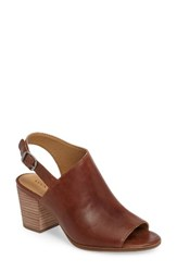 Lucky Brand Women's Obelia Block Heel Sandal Brown Leather