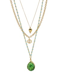 Panacea Multi Strand Druzy Pendant Necklace Green