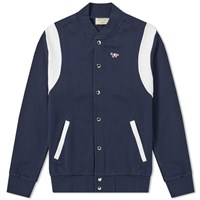 Maison Kitsune Teddy Tricolour Fox Patch Jacket Blue