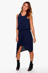 Boohoo Woven Wrap Detail Rouched Midi Dress Navy