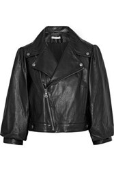 Alice Olivia Arlo Gathered Leather Biker Jacket Black