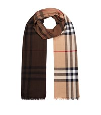 Burberry Shoes And Accessories Check Ombre Wool Silk Scarf Female Brown