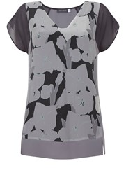 Mint Velvet Cassie Print Silk Front Tee Multi Coloured Multi Coloured