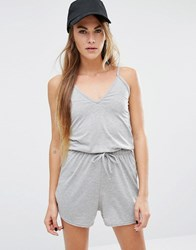 Daisy Street Cami Playsuit With Drawstring Waist Grey