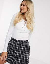 Hollister Long Sleeve Lace Up Top White