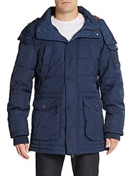 Jetlag Faux Fur Trimmed Hooded Puffer Coat Navy