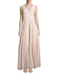 Vera Wang Floral Lace Floor Length Gown Pink
