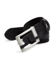J. Lindeberg Golf Slater Striped Webbing Belt Black