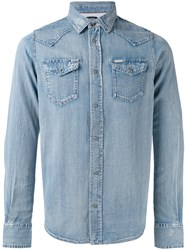 Diesel Classic Denim Shirt Men Cotton S Blue