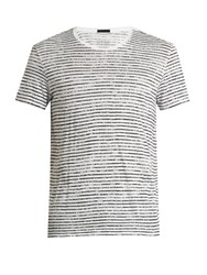 Atm Anthony Thomas Melillo Crew Neck Striped Cotton Jersey T Shirt White Multi