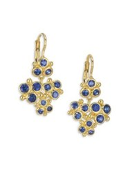 Temple St. Clair Cluster Trio Blue Sapphire Earrings Yellow Gold