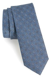 The Tie Bar Solitaire Geometric Silk Slate Blue