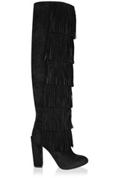 Paul Andrew Tara Fringed Suede Knee Boots Black