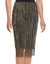 Lord And Taylor Metallic Pull On Skirt Black