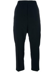 Rick Owens High Waisted Cropped Trousers Black
