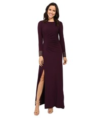 Calvin Klein Front Ruched Gown With Beading On Cuff Cd6b1694 Aubergine Women's Dress Purple