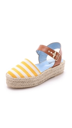 Studio Pollini Striped Platform Espadrilles Yellow