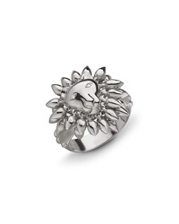 Monica Rich Kosann Sterling Silver Lion Courage Ring With White Sapphires Size 8
