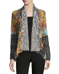 Alberto Makali Long Sleeve Mixed Knit Cardigan Taupe Brown Multi