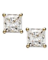 Arabella 14K Gold Earrings Swarovski Zirconia Princess Cut Stud Earrings 2 3 4 Ct. T.W. White
