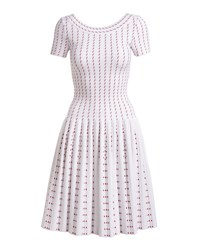 Alaia Dotted Stripes Dress White Red