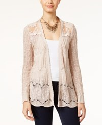 American Rag Pointelle Knit Lace Panel Cardigan Cameo Rose