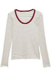 Joie Woman Tayanita Striped Ribbed Jersey Top Ivory