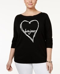 Charter Club Plus Size Bonjour Heart Graphic Sweater Only At Macy's Deep Black Combo