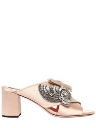 Rochas 60Mm Crystals Embellished Satin Mules Nude