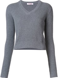 Organic By John Patrick V Neck Cropped Pullover Grey