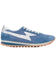 Marc Jacobs Contrast Lace Up Trainers Blue