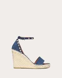 Valentino Garavani Denim Rockstud Double Wedge Sandal 95Mm Blue Cotton 98