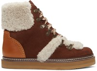 See By Chloe Brown Lace Up Ski Boots