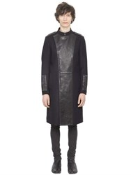 Christophe Terzian Wool Coat With Leather Panels