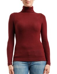 Three Dots Long Sleeve Turtleneck Top Bordeaux