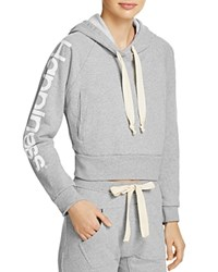 Happiness Crop Hoodie Grey