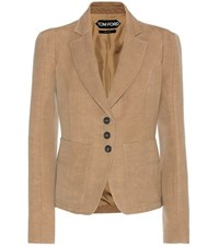 Tom Ford Wool And Linen Blazer Beige