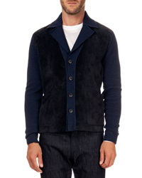 Berluti Perforated Suede And Knit Cardigan Navy