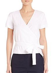 Theory Analice Poplin Wrap Shirt White