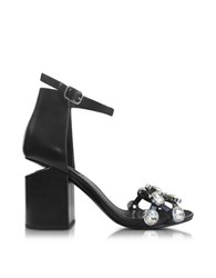 Alexander Wang Jeweled Abby Leather Sandals Black